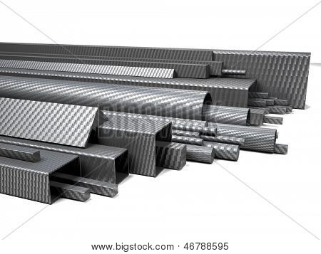 3d image of carbon fiber pipes on white