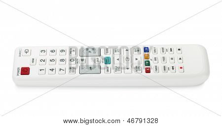 White TV remote control. Isolated on white background