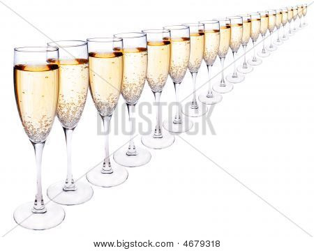 Glasses Of Champagne In A Row