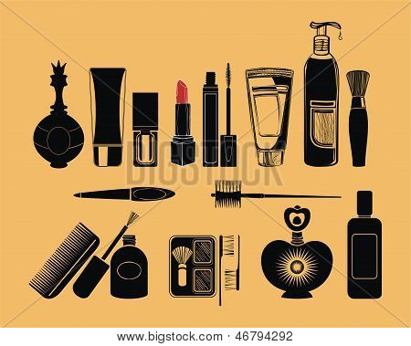 Cosmetics - vector background