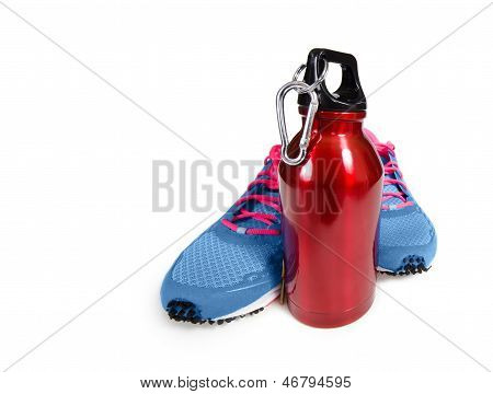 Red water bottle with running shoes