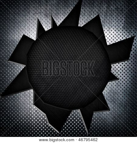 metal plate with big bullet hole