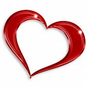 image of soulmate  - red glossy heart isolated on white background - JPG