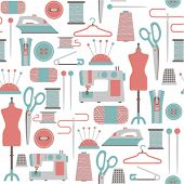 stock photo of mannequin  - seamless pattern with sewing icons - JPG