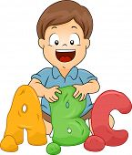 image of molding clay  - Illustration of a Little Kid Boy Molding ABC letters from Clay - JPG