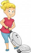 Illustration of Little Kid Girl Cleaning using Vacuum Cleaner