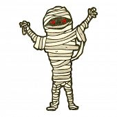 pic of mummy  - retro cartoon halloween mummy - JPG