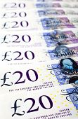 picture of british pound sterling note  - An abstract shot of British 20 pound notes - JPG