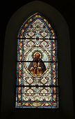 picture of stained glass  - Stain glass window in little church in Correze in France - JPG