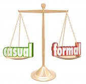 The words Casual and Formal on a gold scale or balance to help you choose whether your clothes or ev