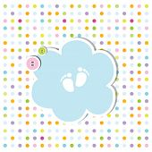 cute baby shower invitation card - baby arrival card with copy space Nice simple design for baby sho