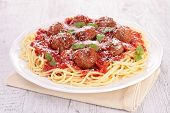 stock photo of meatball  - spaghetti with meatballs and parmesan - JPG