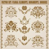 stock photo of brocade  - Set of vector damask ornaments - JPG