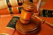 foto of law-books  - Judges gavel on a pile of law books - JPG