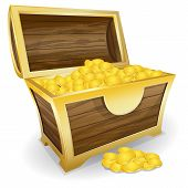 image of realism  - Vector illustration of treasure chest with gold coin - JPG