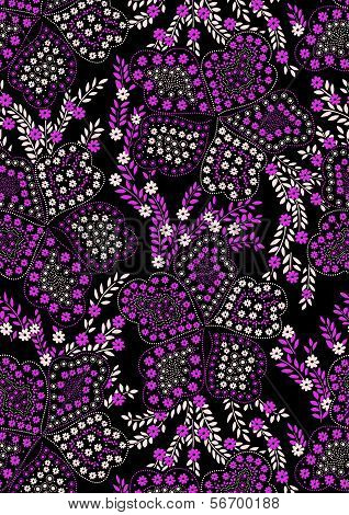 Floral pattern pink and black.