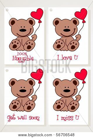 Teddy Bear And Heart Cards.eps