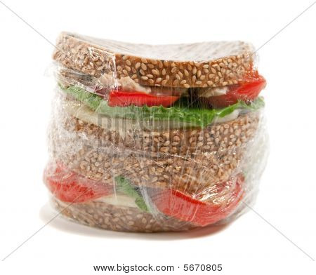 Plastic Wrapped Sandwich