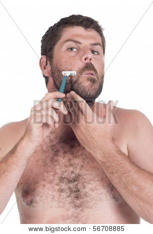 Young Deaf Man Shaving