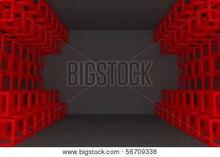 Abstract Red Square Truss Wall