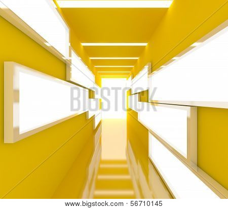 Abstract Yellow Interior Rendering