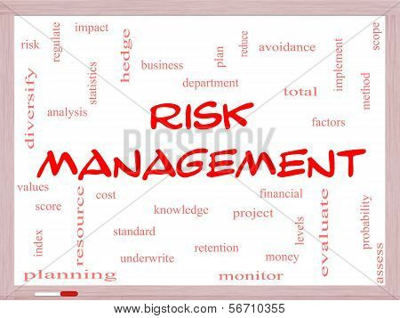 Risk Management Word Cloud Concept On A Whiteboard