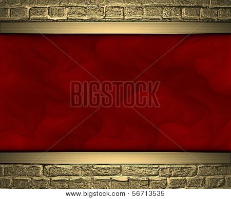Red texture with gold bricks at the edges. Design template