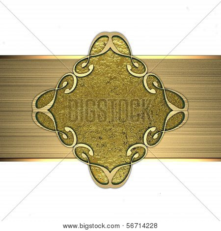 Gold plate with gold pattern. Design element