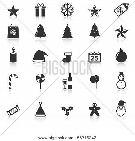 Christmas Icons With Reflect On White Background