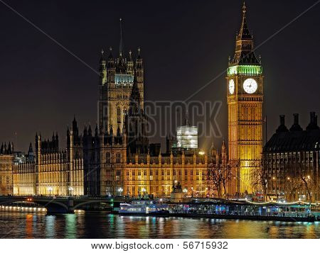 Westminster Palace And Big Ben At Night, London, December 2013