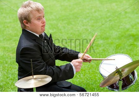 Disabled Drummer In Action.