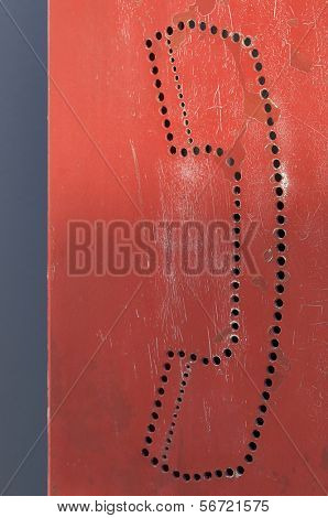 drawing perforated red pubic phone