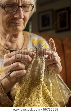 Portrait Of An Older Woman Knitting