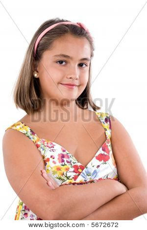 Adorable Girl With Flowered Dress