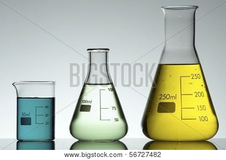 two flasks and a beaker to the light