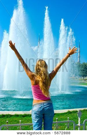 Girl And Fountain