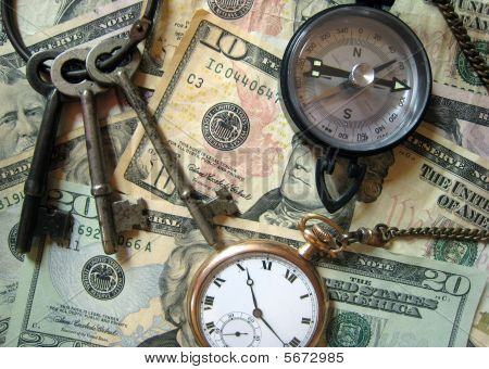 Keys Cash Compass and Watch