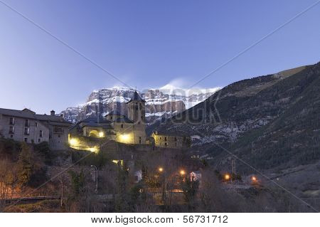 night view of Torla, near  Ordesa and Monte Perdido National Park, Pyrenees, Huesca, Aragon, Spain