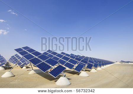 view of photovoltaic panels group with blue sky