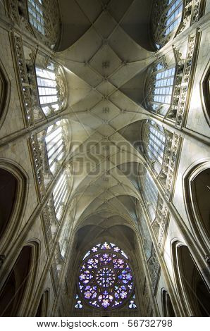 vault of the Saint Vitus Cathedral in Prague, Czech Republic