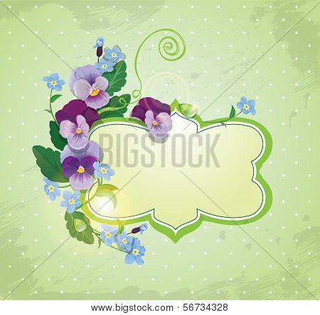 Birthday, Valentines Day Or Wedding Card With Pansy And Forget-me-not Flowers - Vintage Floral Backg