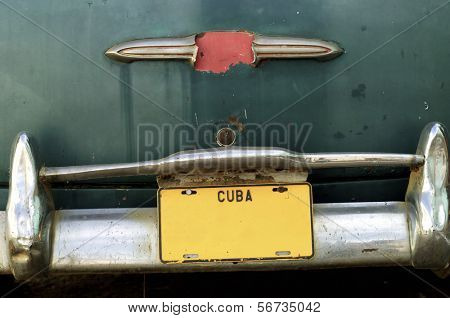 closeup of a rickety  old car in the city of Trinidad, Cuba