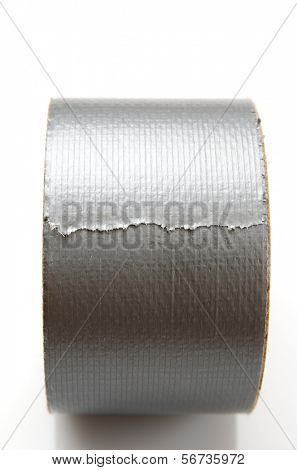 forefront of  a roll of gray tape