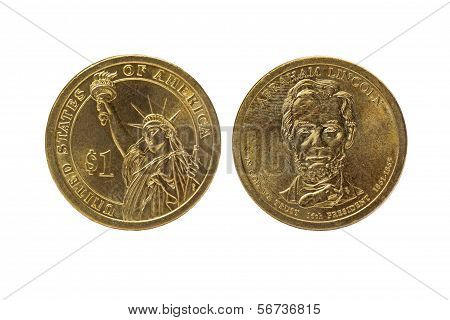 One Us Dollar Obverse And Reverse Coin
