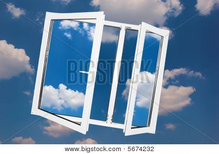 Window On Sky Background.