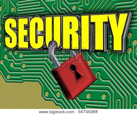 Security Sign With Padlock And Circuit Board
