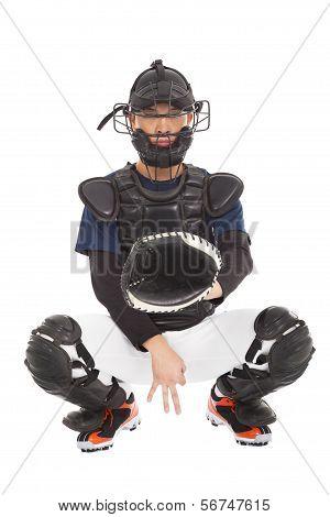 Baseball Player , Catcher Showing Secret  Signal Gesture
