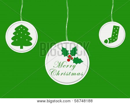 Christmas card with green ornaments