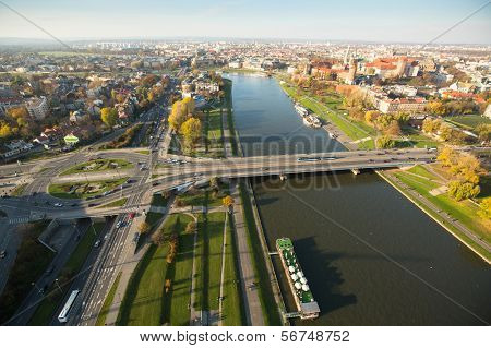 KRAKOW, POLAND - OCT 20: View of the Vistula River in the historic city center, Oct 20, 2013 in Krakow, Poland. Vistula is the longest river in Poland, at 1,047 kilometres in length.