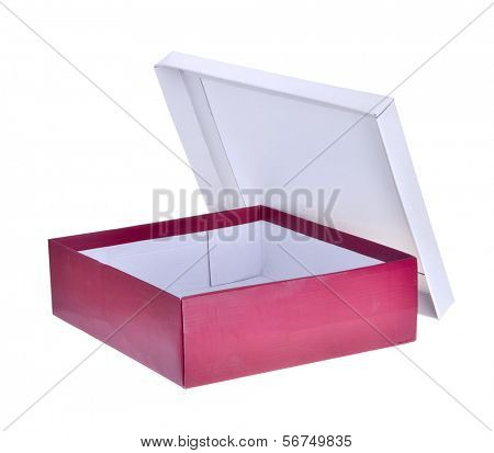 Open red shoe box isolated on white